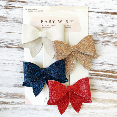 chunky glitter sparkly bows patriotic fourth of july