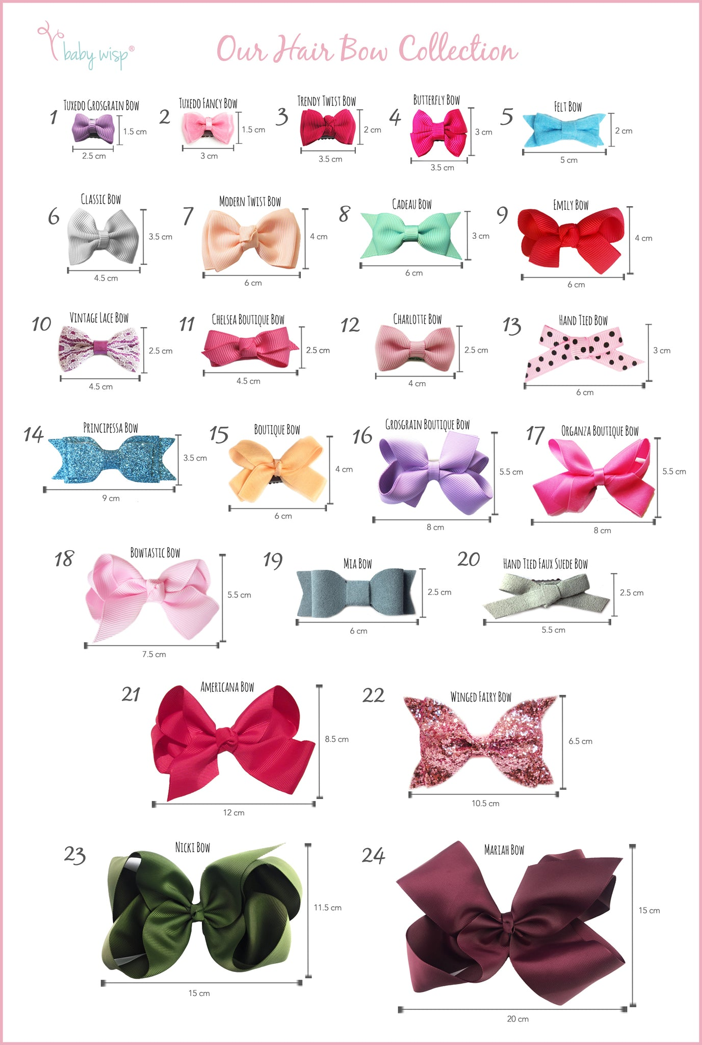 different hair bow styles hair bows guide baby wisp 3102