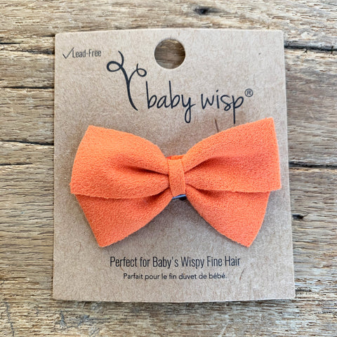thali faux suede bow wisp clip baby toddler girl hair bow