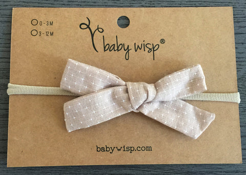 tan starlite fabric bow headband for girls