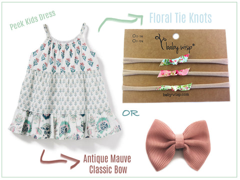 cute peek kids dress with baby wisp bows