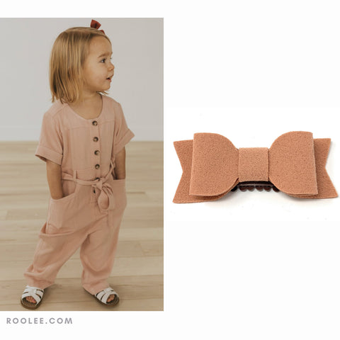 billie jean bow faux suede pink clay