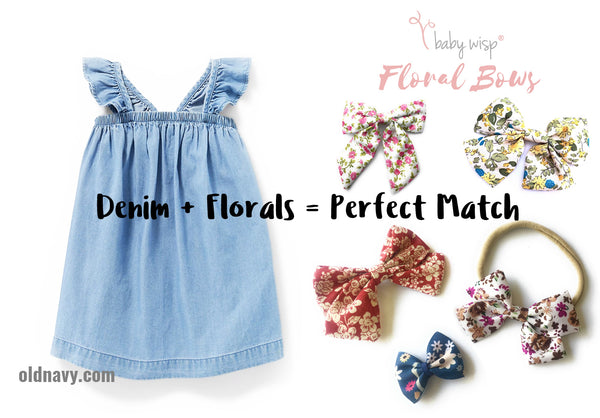 floral bows and denim outfit pairing