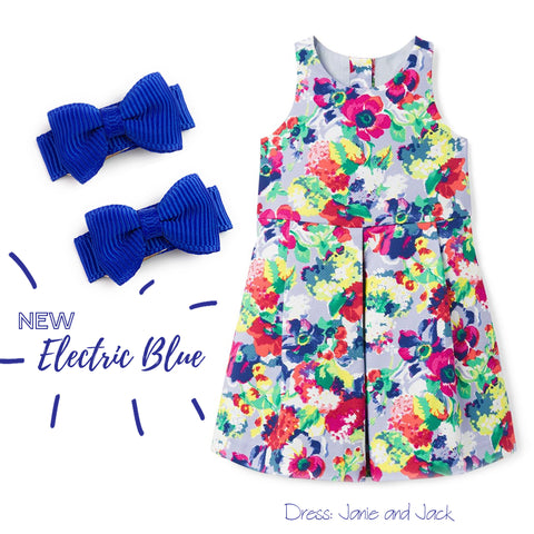 janie and jack infant dress paired with baby wisp bows in electric blue