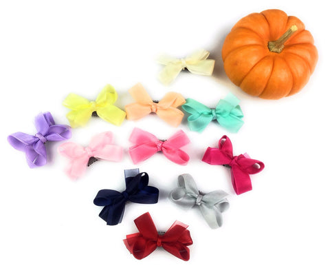 mini latch wisp clip boutique bows in assorted colors