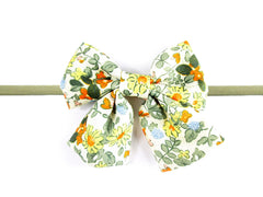 Retro bow floral oversized sailor hairbow for babies and toddlers