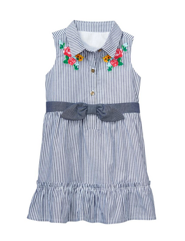 Janie and Jack Pinstripe Blue Dress accessorize with Baby Wisp Baby Headband
