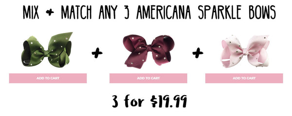 americana sparkle bows mix and match