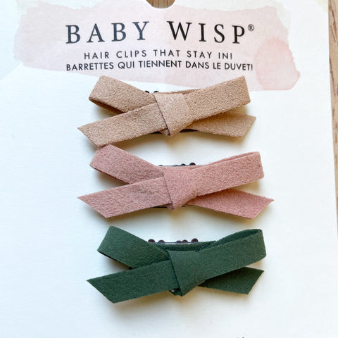 baby bows hand tied faux suede mini wisp clip
