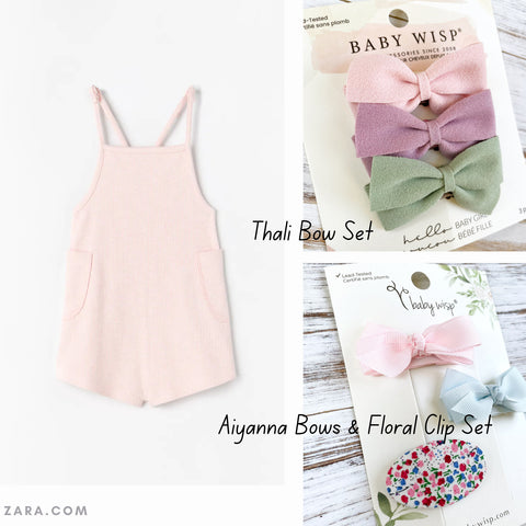 summer outfit hair bows baby wisp light and airy colors beach wear