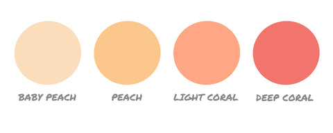 peach and coral color swatches