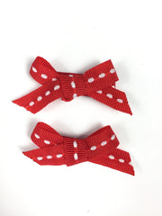 handmade clips in red stitched