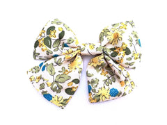 retro floral print hair bow for toddler girls