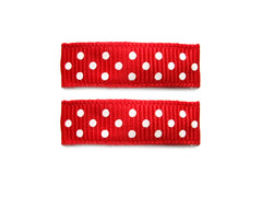 polka dot red small snap hair clips