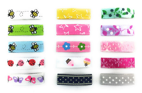 Grosgrain Ribbon Lined Hair Clips for Girls