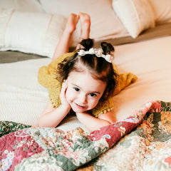 cute toddler wearing sparkly mia glitter hair bows