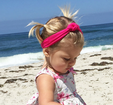 Toddler Girl wearing cute knotted headband