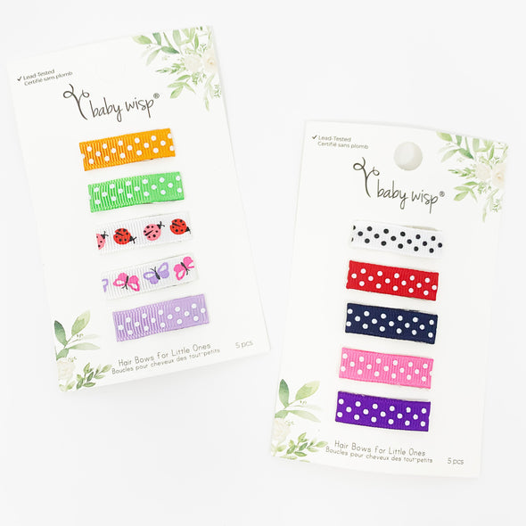 10 Patterned Ribbon Clips - Summer Gift Set - Baby Wisp