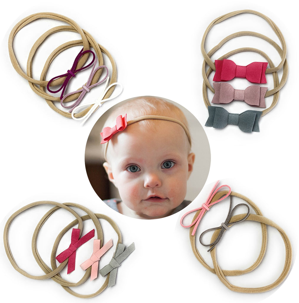 11 Mixed Style Faux Suede Baby Bows Newborn Girl Headband Gift Set - Baby Wisp