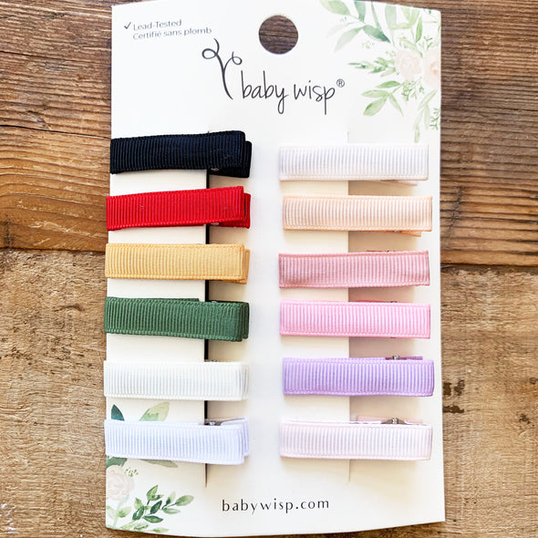 Ribbon Lined Alligator Clips -  Simple Clips Girls Gift Sets - Baby Wisp