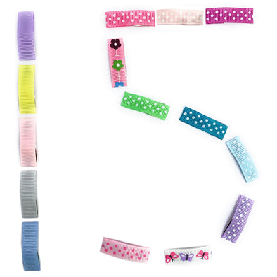 Small Snap Ribbon Clip Collection - 15 Hair Clips Variety Pack - Baby Wisp