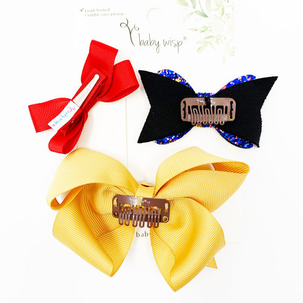 3 Mixed Style and Mixed Clips Hair Bow Set for Girls - Valentina - Baby Wisp