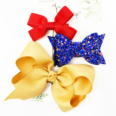 3 Mixed Style and Mixed Clips Hair Bow Set for Girls - Oh When the Saints - Baby Wisp
