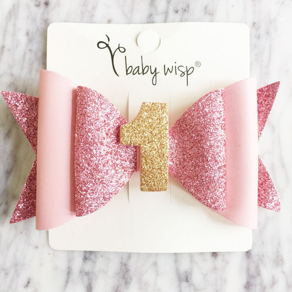 First Birthday Hair Bow, Birthday Headband - Baby Wisp