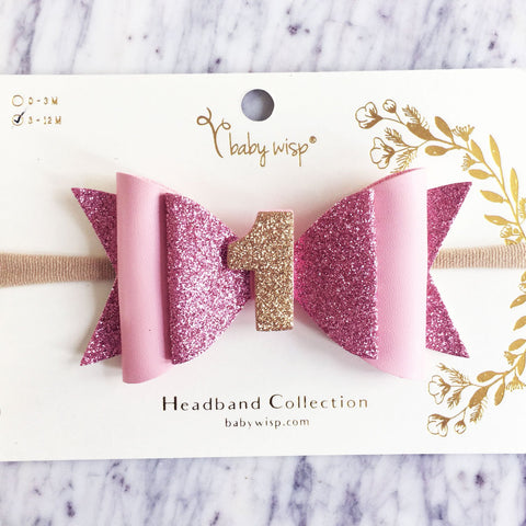 First Birthday Hair Bow, Birthday Headband, Birthday Hair Clip, 1st Birthday for girls