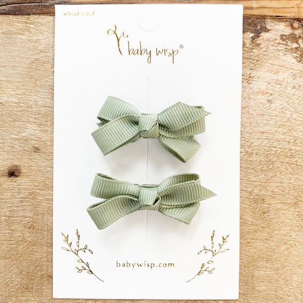Snap Clip Barrette Pair - Green - Baby Wisp
