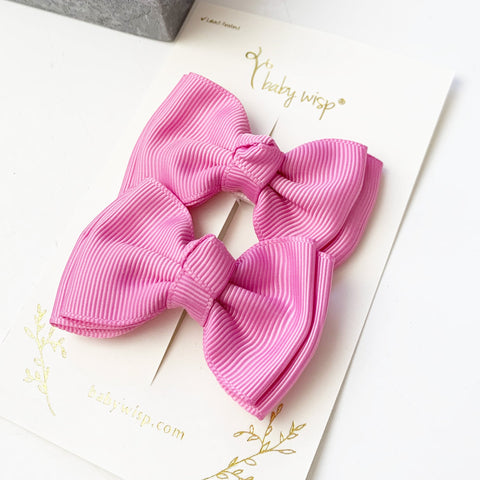 2 Small Snap Modern Twist Toddler Hair Bows