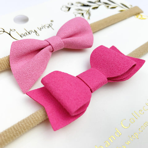 Valentine 2 Soft Baby Headbands -Faux Suede Mixed Bow Gift Sets