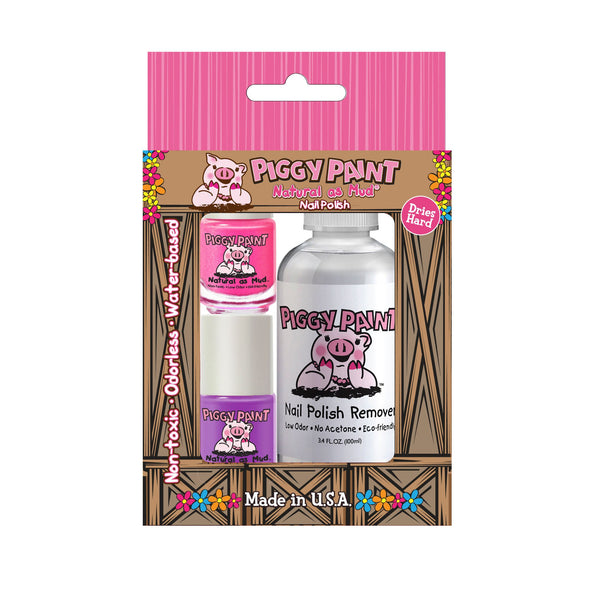 Piggy Paint Nail Polish 2 Pack and Remover Box Set - Baby Wisp