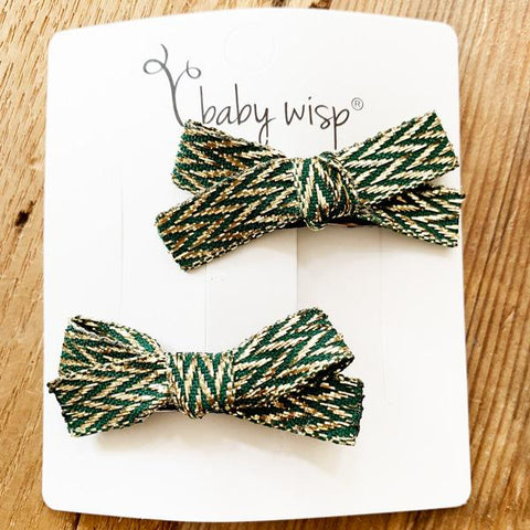 Hand Tied Baby Bows - Rich Green and Gold - Limited Edition Ribbon - Baby Wisp