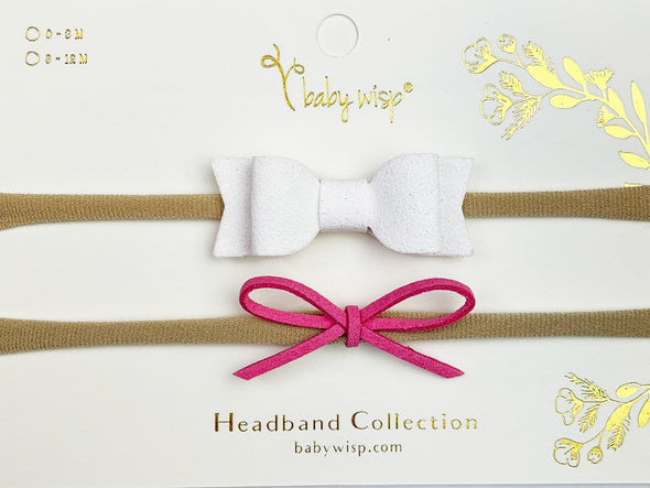 2 Soft Baby, Toddler Headbands -Faux Suede Mia Bow, Dainty Suede Cord Bow Gift Sets - Baby Wisp