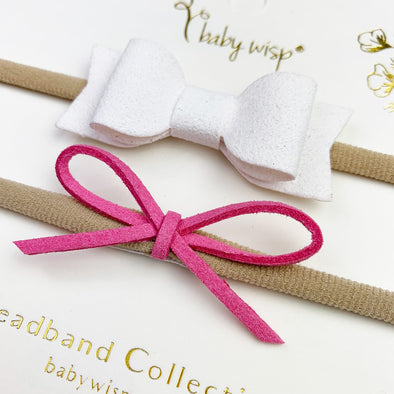 Valentine 2 Soft Baby Headbands -Faux Suede Mixed Bow Gift Sets - Baby Wisp