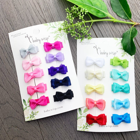 20 Tiny Fancy Bows Snap Clip Collection - Baby Wisp