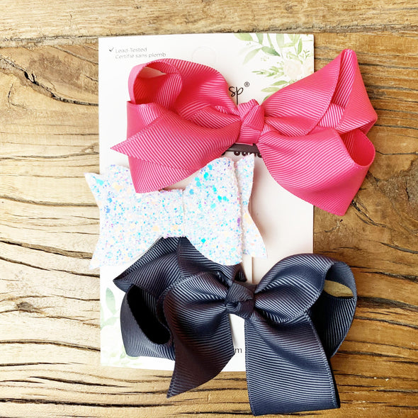 2 Americana Boutique Bows and Courtney Glitter Bow - Baby Wisp
