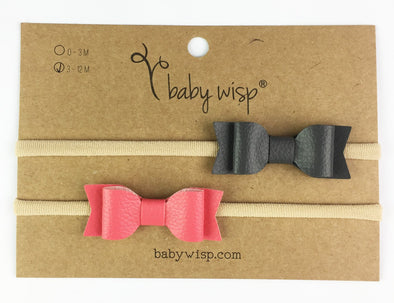 2 Infant Headbands - Mia Faux Leather Bows - Coral and Charcoal - Baby Wisp