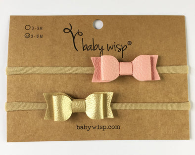 2 Infant Headbands - Mia Faux Leather Bows - Pink and Gold - Baby Wisp