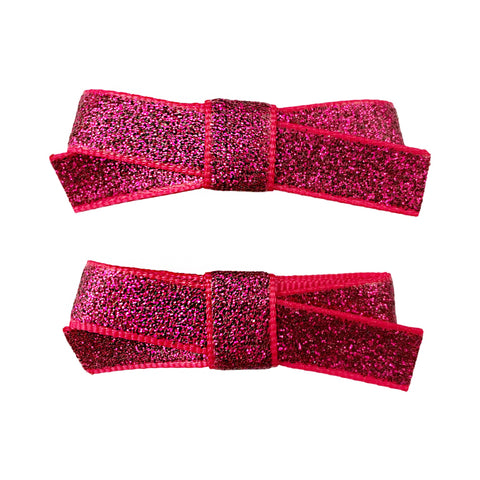 Small Snap Glitter Hand Tied Bows - Baby Wisp