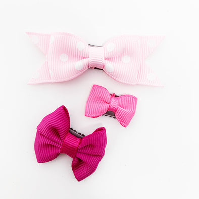 3 Mini Latch Wisp Clip Mixed Baby Bow Set - Pretty in Pink - Baby Wisp