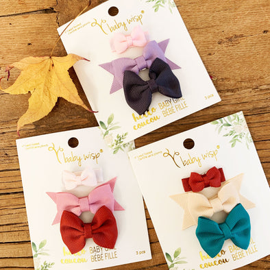 Fall Colors 3 Small Snap Clips Mixed Baby Bow Gift Set - Baby Wisp