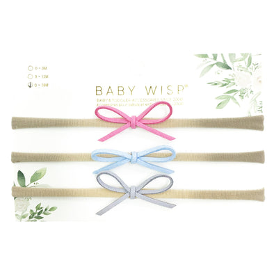 3 Suede Cord Hand Tied Bows Easter Gift - Baby Wisp