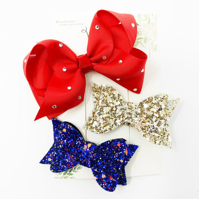 3 Mixed Boutique Bows for Toddlers - Sparkle and Sing - Baby Wisp