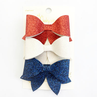3 Chloe Sparkly Hair Bow Pinch Clip - Baby Wisp