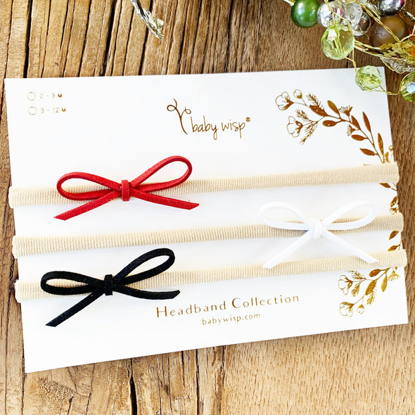 3 Baby Bow Headbands - Christmas Gift Set - Baby Wisp