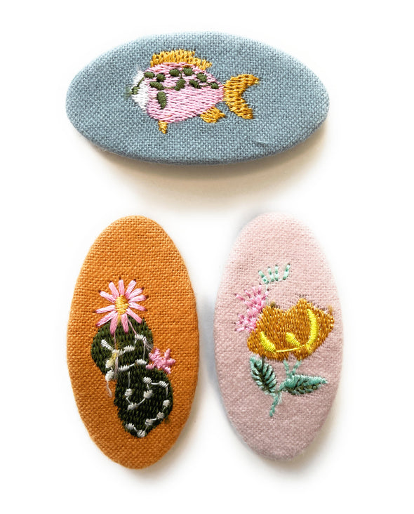 3 Embroidered Fabric Covered Large 5cm Snap Clips - Socal