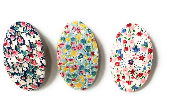 3 Floral Patterned Fabric Large 5cm Snap Clips - Baby Wisp