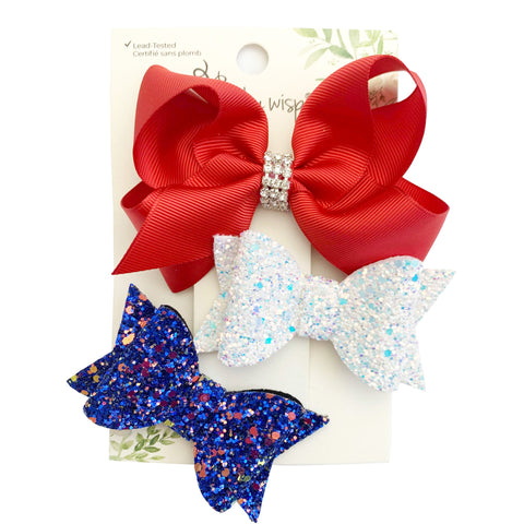 Patriot Set - Independence Day Bow Set - 3 Alligator Clips - Baby Wisp
